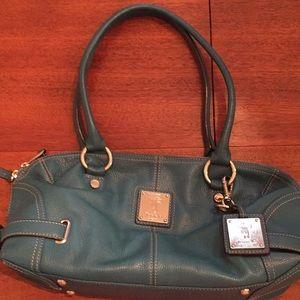 Tignanello Hobo Pebble Leather Shoulder Bag Blue